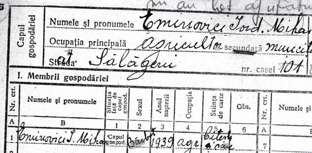 Eminovici Mihai, în Registrul Agricol al Sălăgenilor
