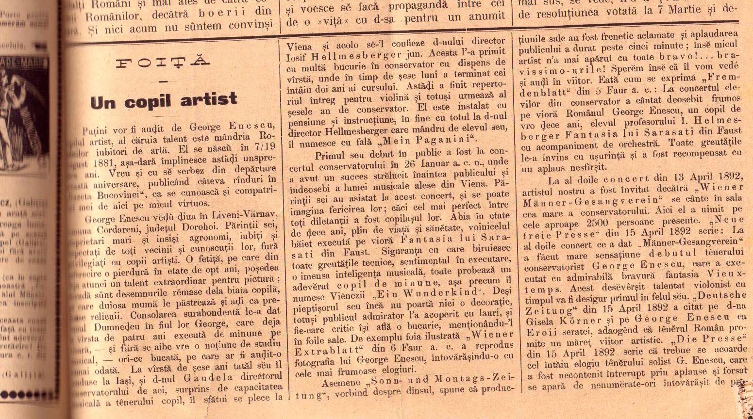 GAZETA BUCOVINEI, 7/19 August 1892