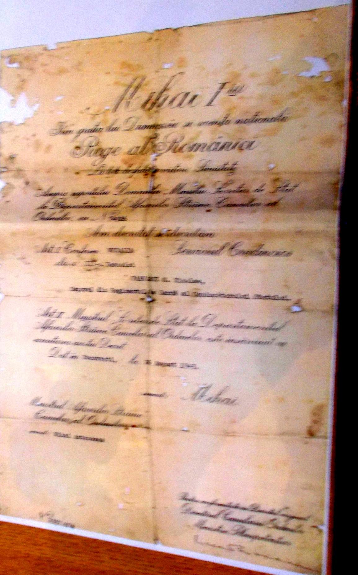 """Decretul Regal de conferire a Medaliei """"Serviciul Credincios"""""""