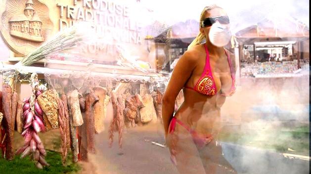 Prezentatoare: O fi carnea din import, dar fumul şi colbul sunt autentice şi tradiţional bucovinene...