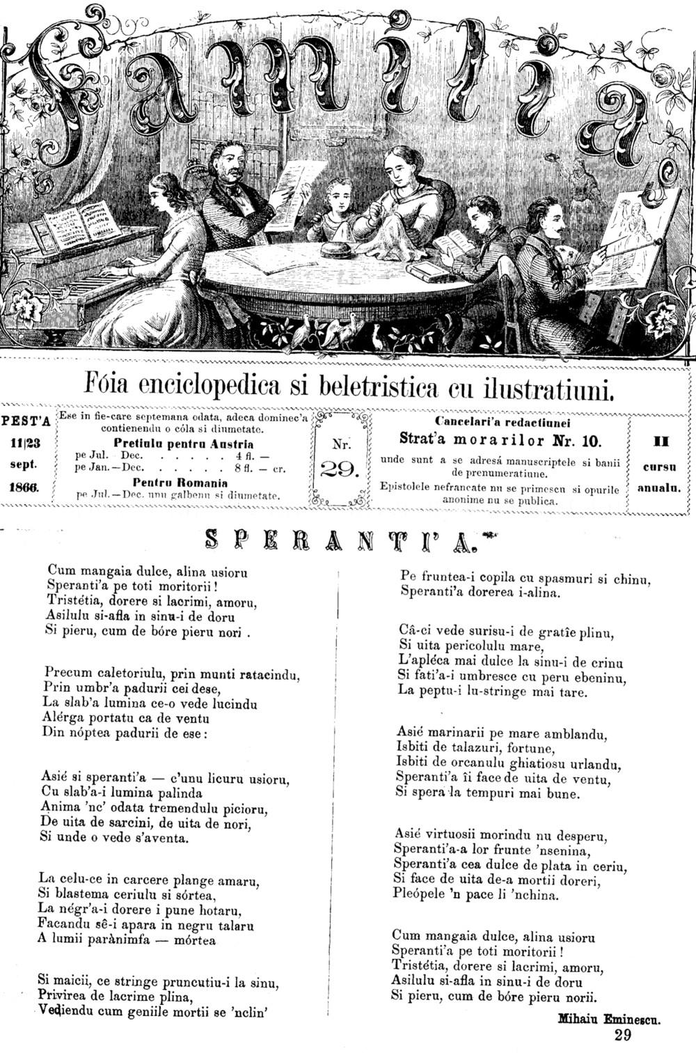 Familia 29 din 1866 Eminescu Speranta-1
