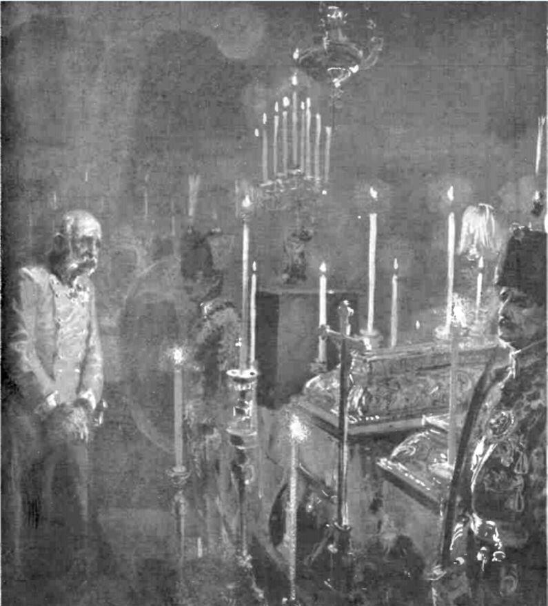 """Franz Iosef, la căpătâiul fiului său - """"Gazeta ilustrată"""" nr. 28/1914"""