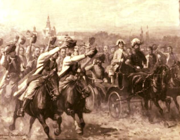 Franz Joseph, la 1880, în Galiţia, călătorind spre Bucovina