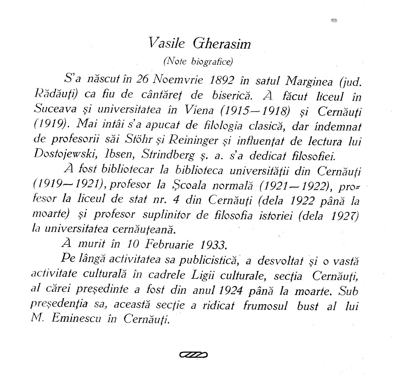 Prefaţa singurei cărticele, pe care Bucovina a zvârlit-o pe memoria lui Vasile Gherasim