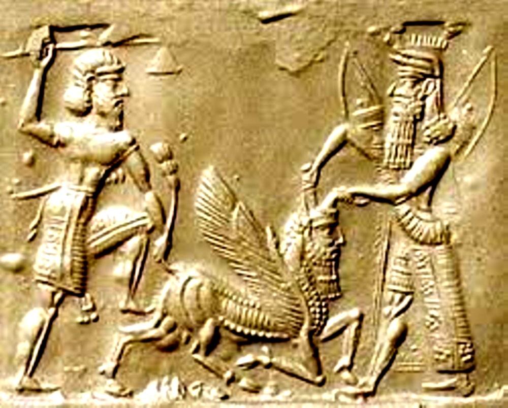 Gilgamesh şi Enkidu (propria-i tinereţe!), ucigând Taurul lui Anu