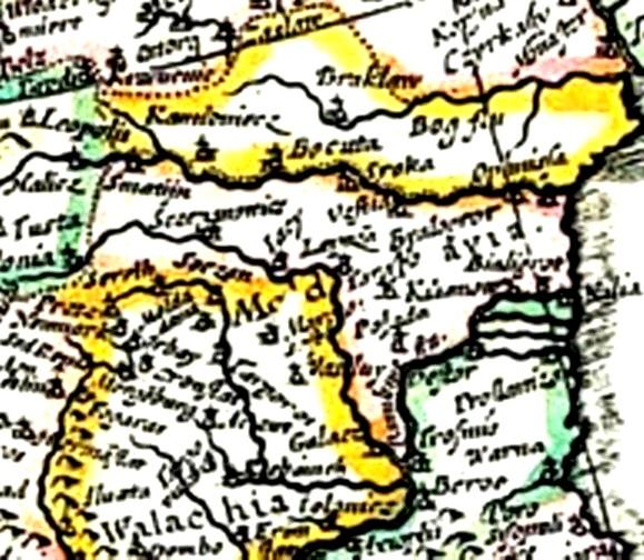 Moldova, decupaj din harta Europei din 1641
