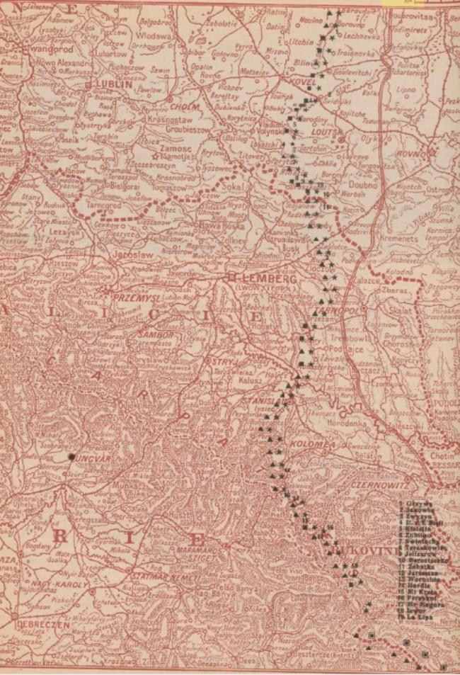 Harta frontului 1916 august 30 La Guerre mondiale 31 august 1916