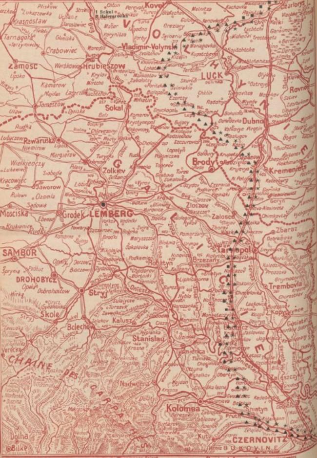 Harta frontului 1916 iunie 16 La Guerre mondiale 17 iunie 1916