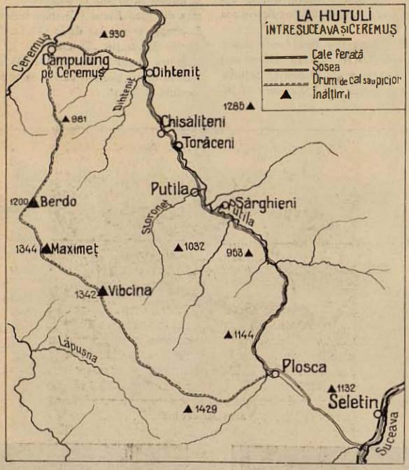 Ţara Huţulilor - harta austriacă