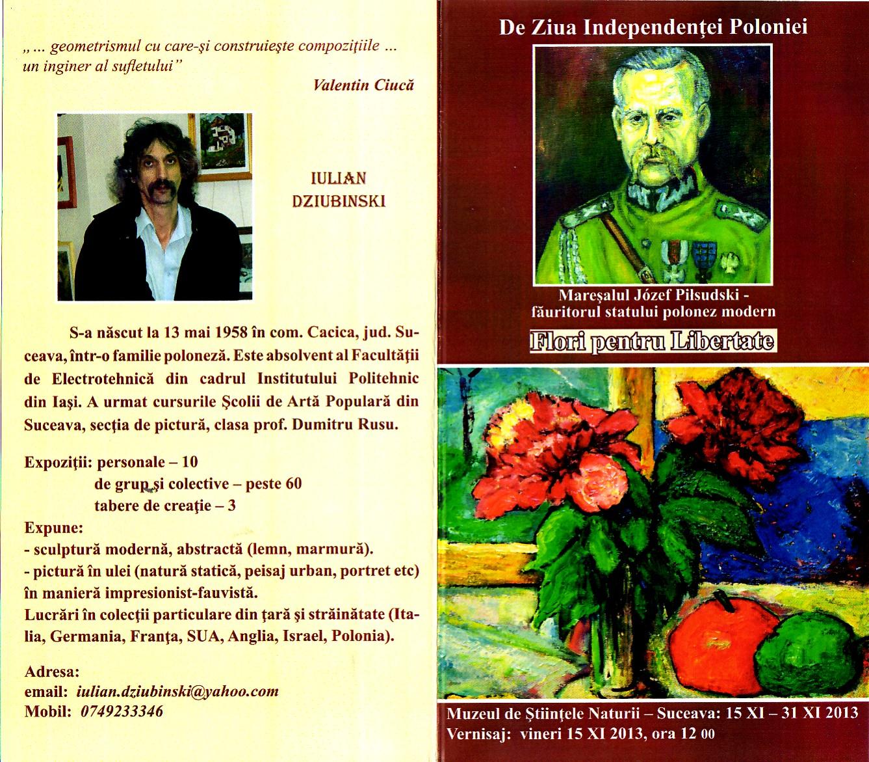 Coperţile pliantului de expoziţie, cu Mareşalul Josef Pilsudski în prim plan
