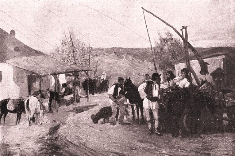 L'Art et les artistes, martie 1927: Popas în faţa hanului; reproducere după D Stoica.