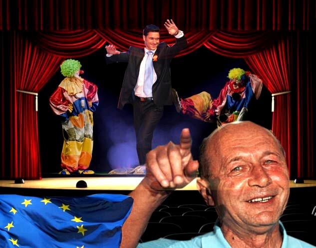 Traian Băsescu: Hah, ha, hah!... În regiunea Moldovei puneţi-l pe clovnul de Luhan, că-i neam cu nevastă-mea şi-mi aduce campot de afine...