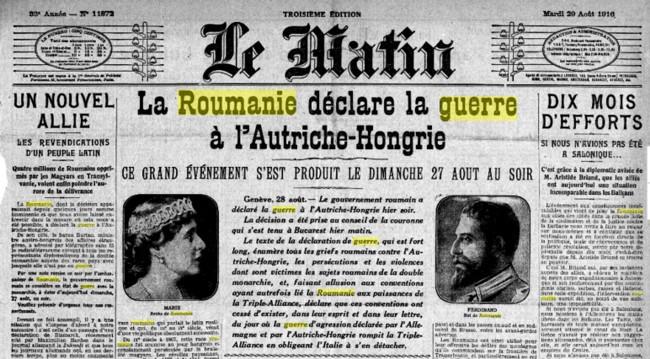 Le Matin, 27 august 1916