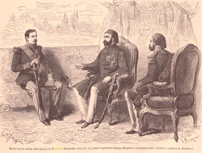 Le Monde illustré 23 iulie 1864 Cuza si Sultanul