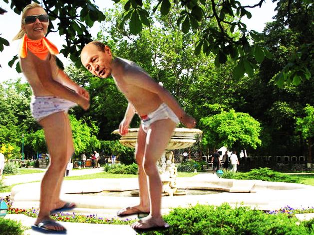 Preşedintele Traian Băsescu, în parcul Palatului Cotroceni: Nuţi, dragă, m-ai convins; meriţă să ajungi Preşedinte al României!