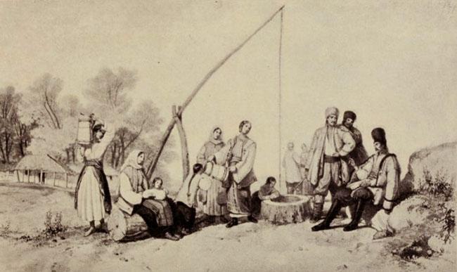 Margine de Bucureşti - acuarelă de Szathmary