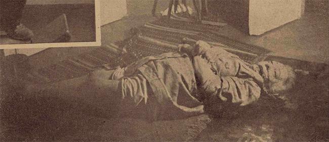 Multimilionara Roza Hirsch, astfel cum a fost găsită la damiciliul ei.