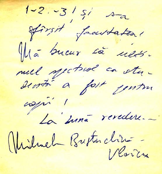 Autograful Mihaelei Bustuchină-Vlaicu