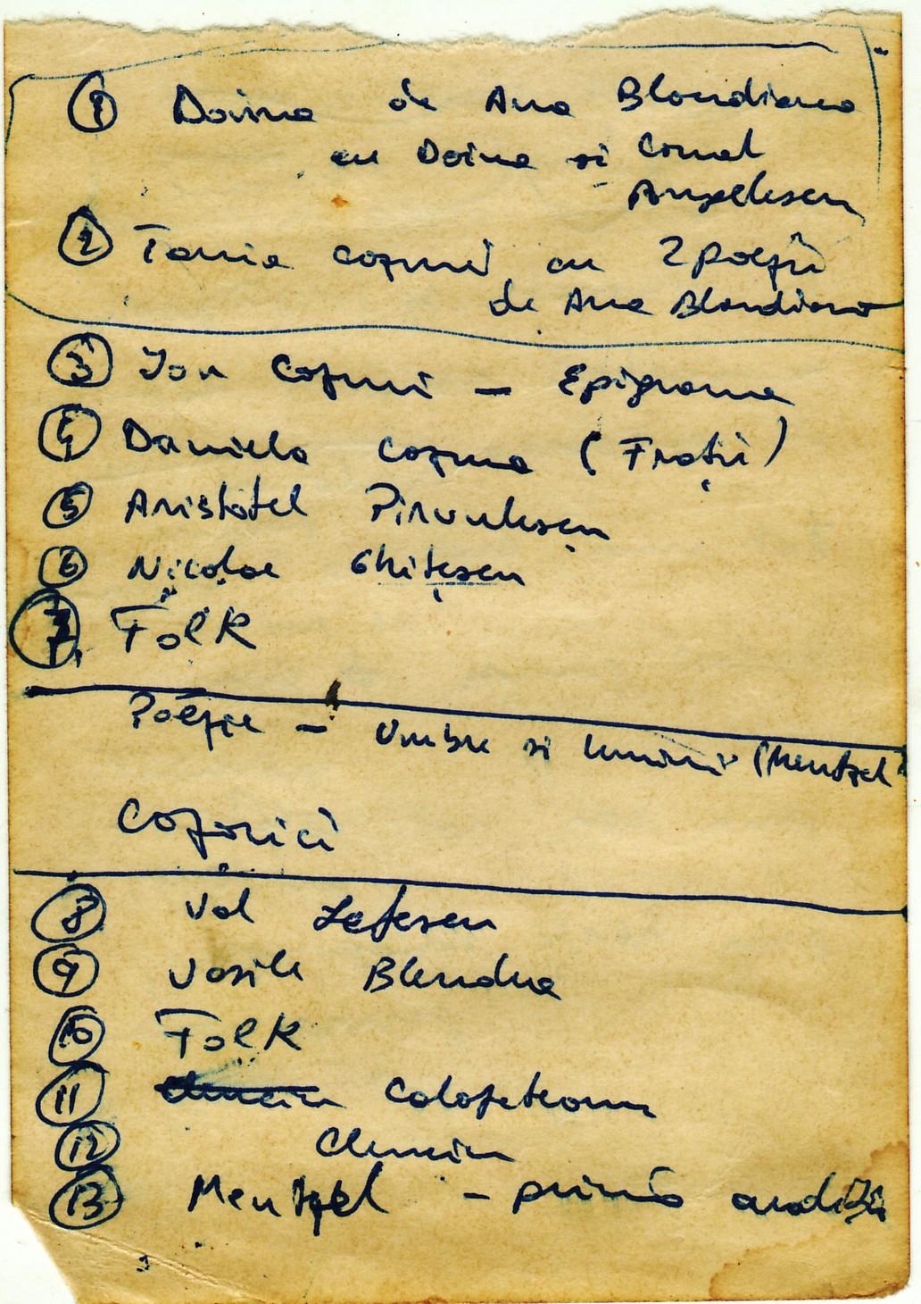 Schiţa de scenariu pentru sărbătorirea lui Gheorghe Cozorici