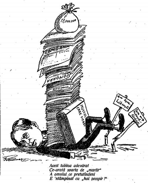 Octavian Goga caricaturizat CHEMAREA TINERIMII ROMÂNE