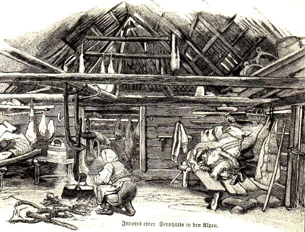Interiorul colibei păstoreşti