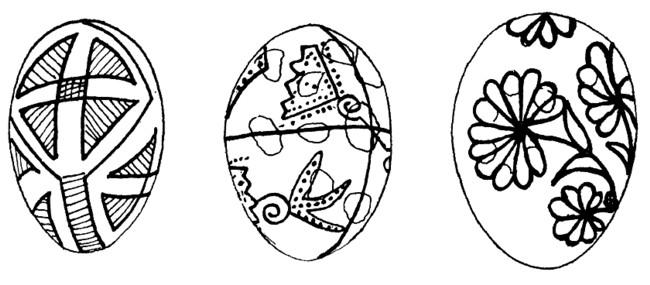 Ou din Berhomete şi două ouă pictate, în 1899, la Cernăuţi