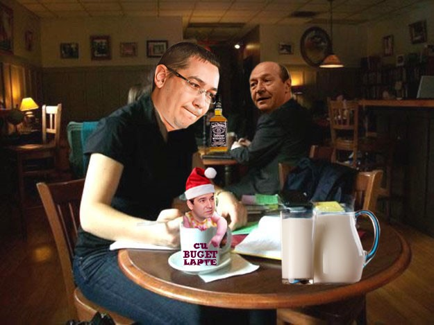 Traian Băsescu: Văd că Ponta plagiază şi bugeţelul lui Boc! Dacă-i papă lapte!...