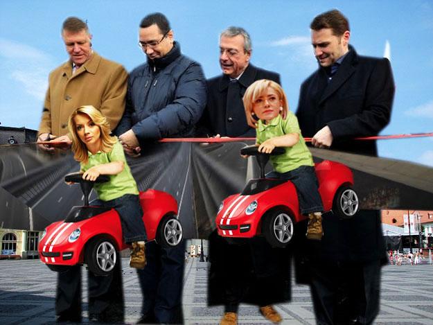 Daciana Sârbu-Ponta: Bravo Victoraş! Fraierii vor pricepe că ai tăiat panglici, la Sibiu, pentru patru autostrăzi, şi iar ne vor trimite în Parlamentul Europei... Corina Creţu: Daaa, pentru că eu nu pot trăi, pentru poporul român, fără Colins al meu!...