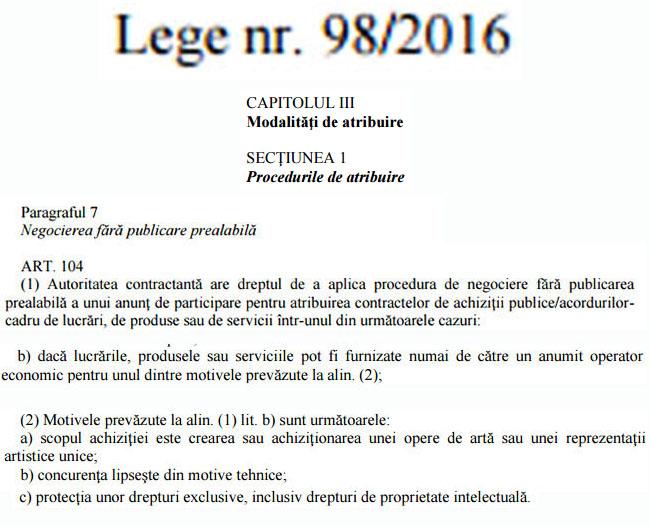 Paragraful 7 Legea 98 din 2016