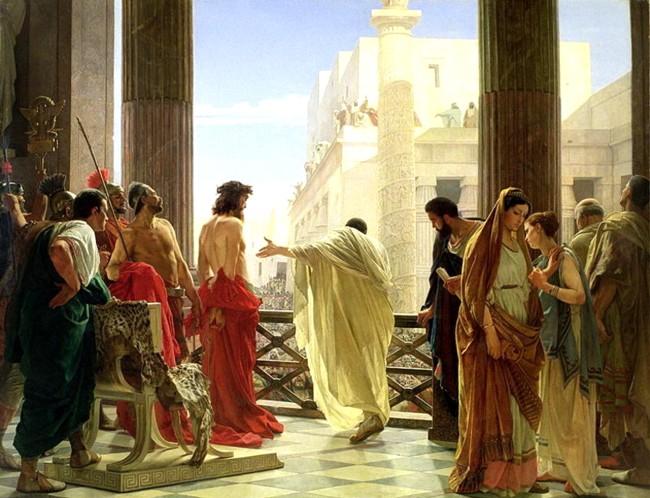 Pilat, arătându-l pe Iisus, biciuit, mulţimii