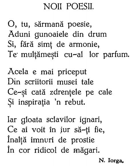 Poezie Iorga poeziei noi