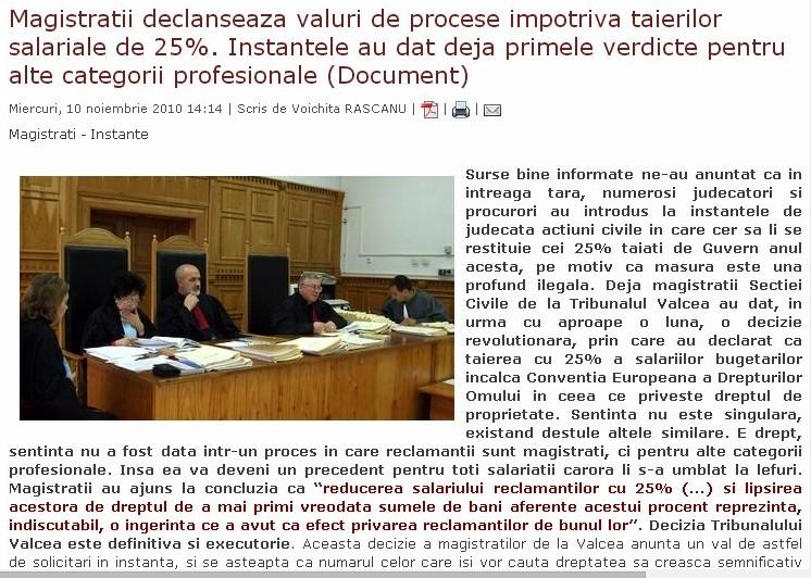 """Măsura tăierii salariilor, """"profund ilegală"""" numai în cazul judecătorilor şi procurorilor"""