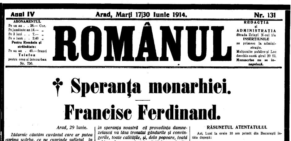 ROMÂNUL, din 17 iunie, comentând atentatul de la Sarajevo