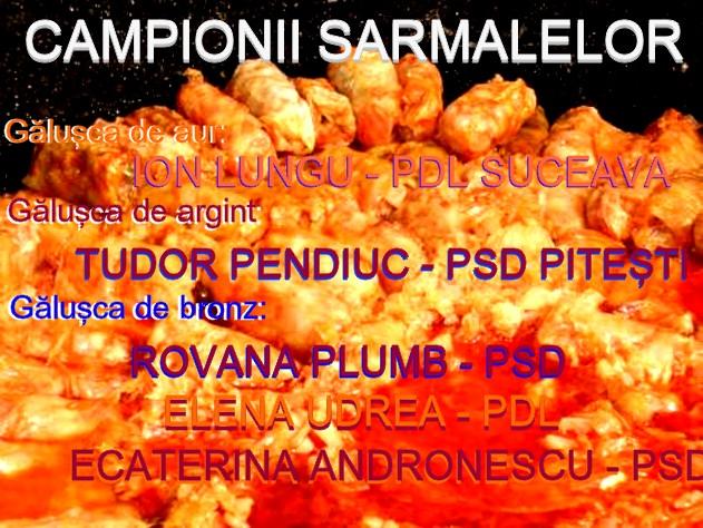 Campionii umilirii românilor cu sarmale: Ion Lunugu, Tudor Pendiuc, Rovana Plumb, Elena Udrea şi... Ecaterina Andronescu