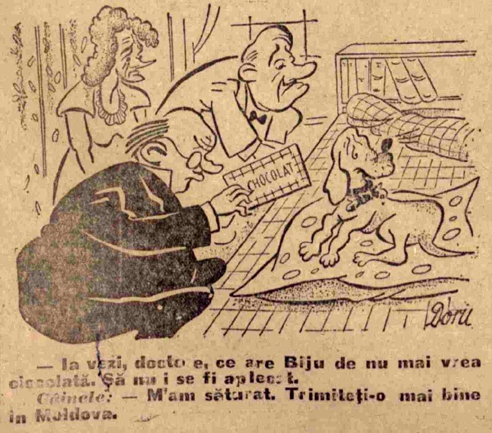 Scanteia 15 ian 1947 Caricatura cu ciocolata
