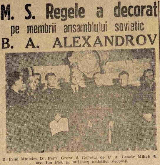 Scanteia 15 ian 1947 Decorarea artistilor sovietici