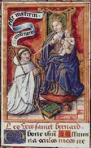 Sfântul Bernard primind lapte de la sânul Fecioarei Maria