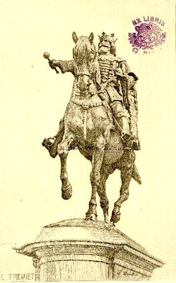 Litografie după statuia făcută de Emmanuele Fremiet cu un prinţ polon, amplasată la Iaşi drept... Ştefan cel Mare