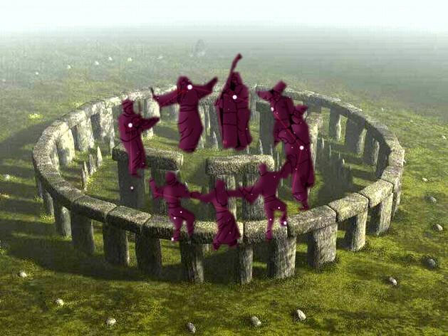 Stonehenge (reconstituit ca întreg) şi Constelaţia Hora