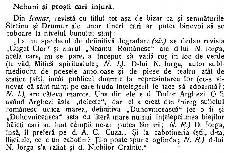 Streinul si Drumur vs Iorga