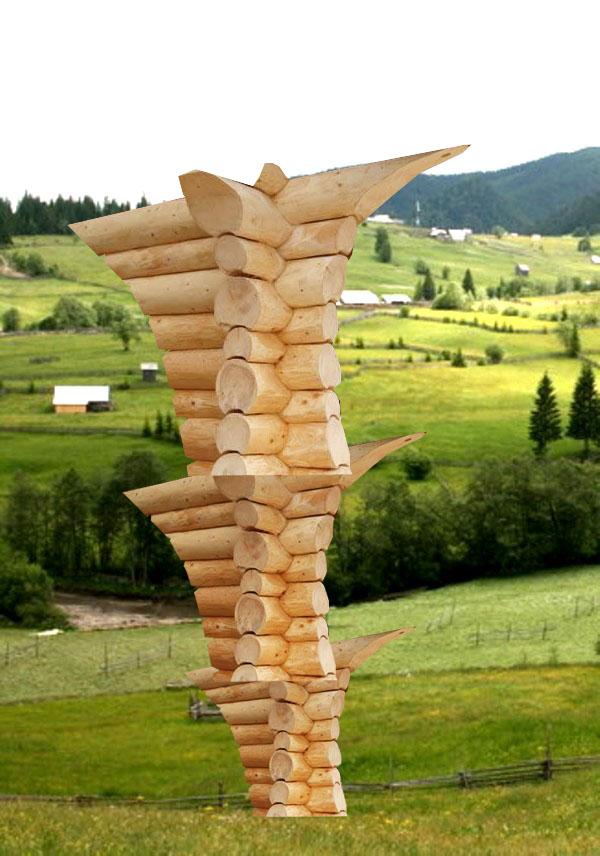 Sugestea tentaţiei cosmice, înglobată în încheieturile colţurilor de casă românească din bârne