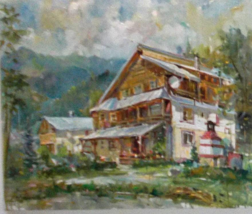 Pensiunea Romiţei Vicol, de la Chiril, care a găzduit tabăra - pictură de Petro Asimionese (Ucraina)