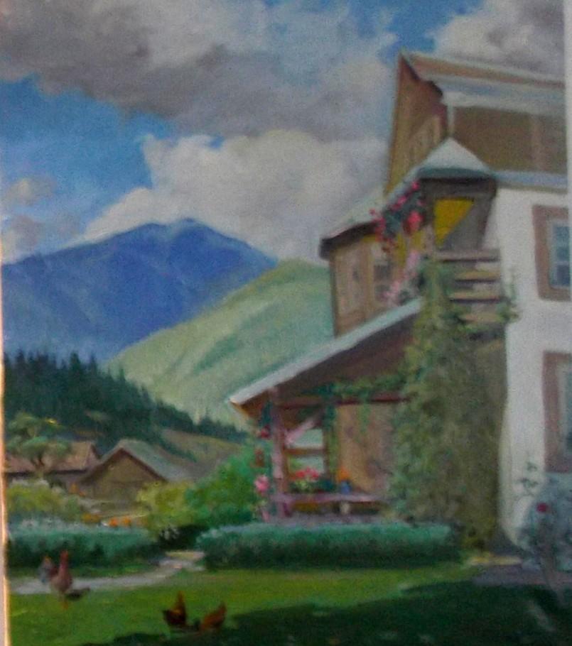 Pensiunea de la Chiril, cu Ioan Bodnar pe terasă - pictură de Mychailo Bessareba (Slovacia)