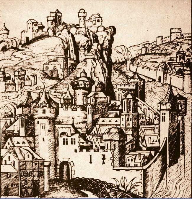 Desen fantezist al lui Schedel, din 1493, ca ilustraţie la Wallachia