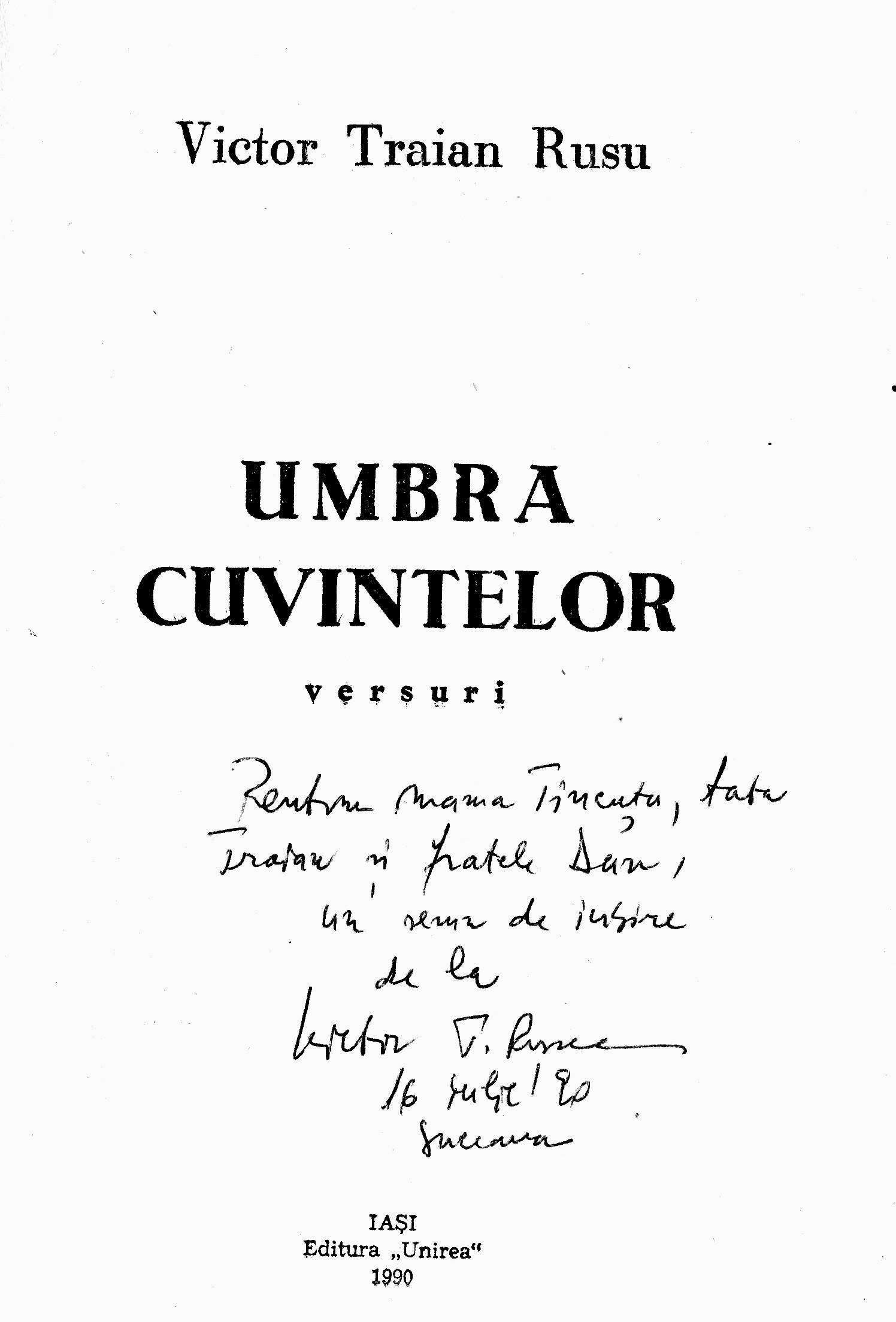 """Coperta interioară a cărţii """"Umbra cuvintelor"""", de Victor T. Rusu; coperta experioară, făcută de Ion Carp Fluierici s-a pierdut... odată cu originalele lucrărilor"""