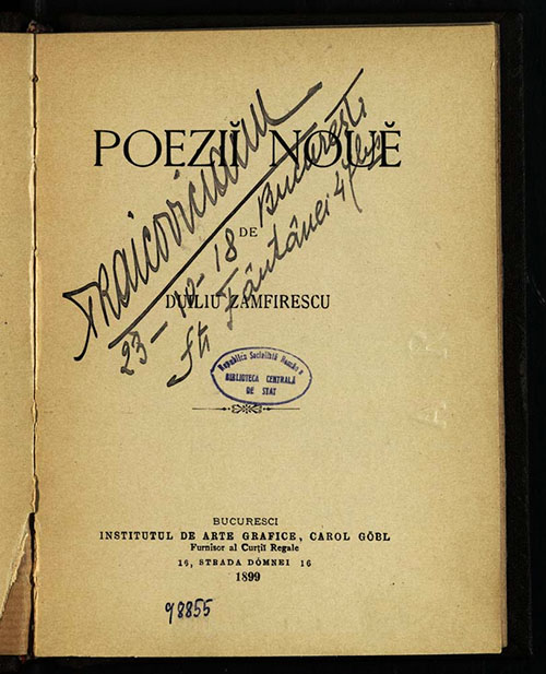 Zamfirescu Poezii noi 1899