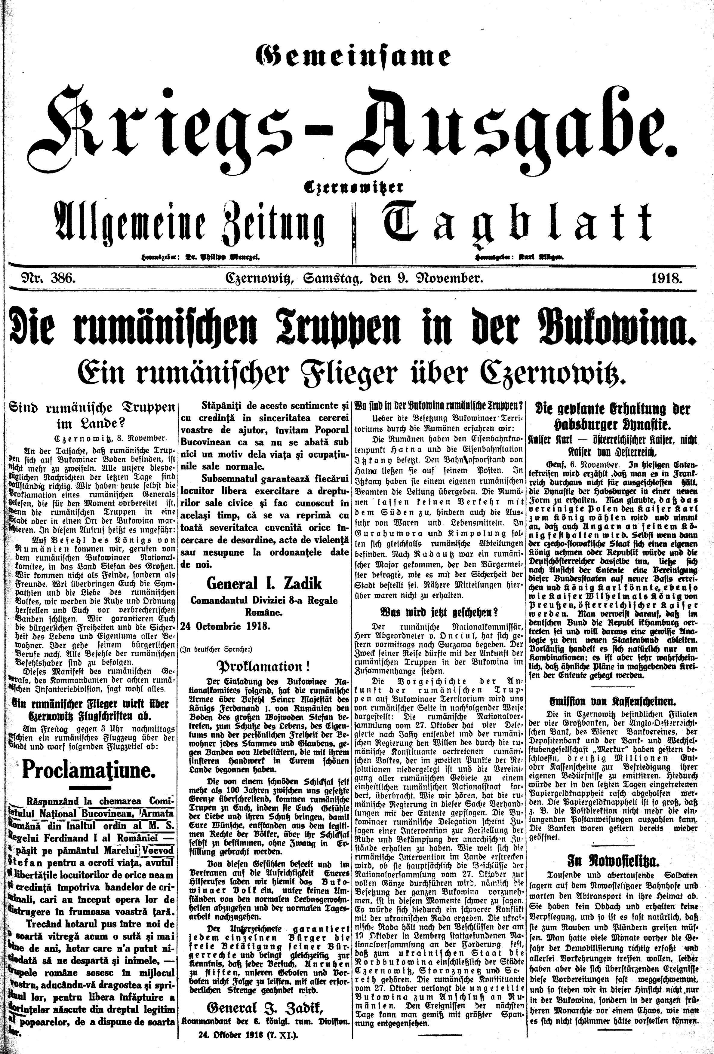 """Ziarul """"Czernowitzer Allgemeine Zeitung"""", nr. 387, din 10 noiembrie 1918, cu """"Proclamaţiunea"""" bilingvă a generalului Iacob Zadik"""